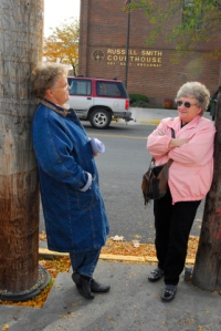 Gayla and Norita outside federal courthouse in Missoula