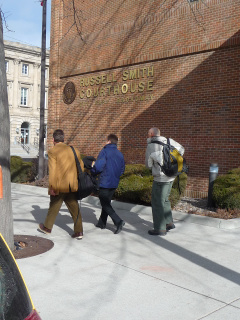 Drs. Chris Weis, Aubrey Miller and Paul Peronard - the first EPA team to arrive at Libby - hopefully taking Miller for a drink after he testified all day.