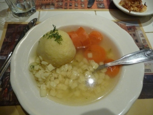 Chicken soup with matzo ball from New York City;s 2nd Ave. Deli     photo by A.Schneider