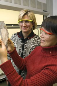 Margaret Frey, an associate professor of fiber science in Cornell's College of Human Ecology and Chunhui Xiang, led the research.  File photo by Cornell University