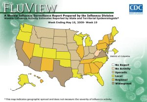 CDC map showing reports of flu